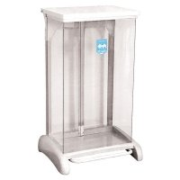 Transparent free-standing recycling bin