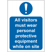 "Free-standing tabletop safety signs - ""All visitors must wear PPE"""