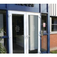 Custom frosted glass effect window transfer signs