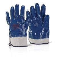 Blue Nitrile Protective Work Gloves