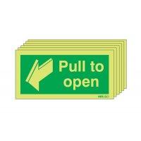 Glow-in-the-dark pull to open fire door signs, six per pack