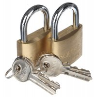 Twin pack of short-shackle brass padlocks
