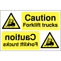 Reversing Safety Signs - Caution Forklift Trucks
