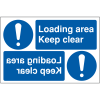 """Keep loading areas clear"" reversing car park signs"