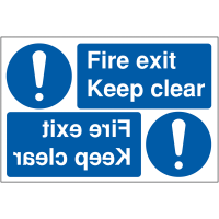 Keep clear fire exit reversing car park signs
