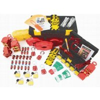 Large, comprehensive valve and electrical safety lockout kit