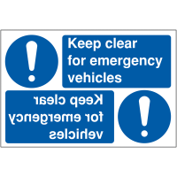 """Keep clear for emergency vehicles"" reversing car park signs"