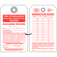Fire Extinguisher Recharge and Reinspection Tag with Recharge Record