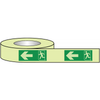 Glow-in-the-Dark Fire Exit Tape with Left Arrow and Running Man Symbol