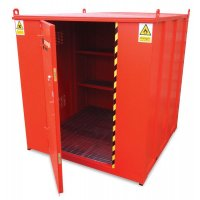 Walk-in flammable substance storage cabinet