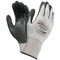 Seamless cut-resistant gloves with PU coating