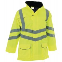 Waterproof motorway jacket for high-visibility awareness