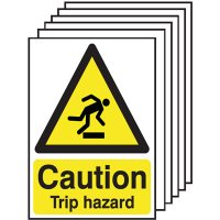 Highly visible 'caution trip hazard' six pack of warning signs