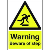 Warning Beware Of Step' Black And Yellow Hazard Signs
