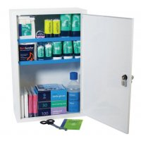 British Standard compliant stocked metal first aid cabinet