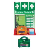 Wall-Mounted Combined First Aid, Burns and Eyewash Station