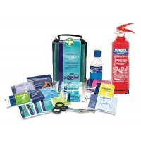 Dry Powder Fire Extinguisher and Travel First Aid Kit Safety Package