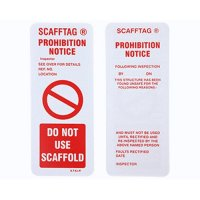 Tags to deter use of dangerous or untested scaffolding