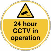 24 hour CCTV in Operation Anti-Slip Floor Signs