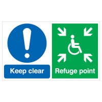Keep Clear, Refuge Point 6 Pack Multi-Message Signs