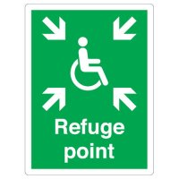 Disabled Refuge Point Aluminium Sign for Outdoor Use