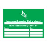 Emergency Evacuation Chair Location and Users Customisable Sign