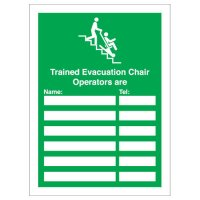Trained evac chair operators are:' customisable update sign