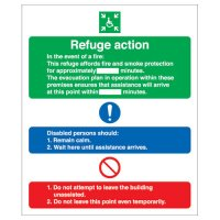 Disabled refuge action fire emergency evacuation signs