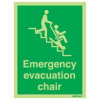 Glow-in-the-Dark Emergency Evacuation Chair Sign with Large Symbol