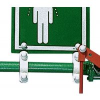 Wall-mounted safety shower sign and safety brackets