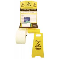 Complete Spill Safety Station with Hazard Sign, Absorbent Roll, Disposal Bags and Instructions
