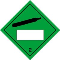 Compressed Gas & 2 - Hazard Warning Diamond Placards