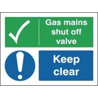 Gas Mains Shut Off Valve Keep Clear Signs