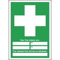 Your First Aiders Are/First Aid Box Is Situated Signs