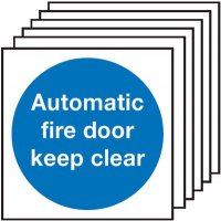 Automatic Fire Door Keep Clear Signs - 6 Pack