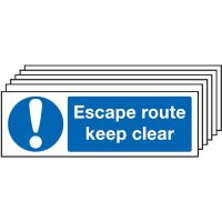 Escape Route Keep Clear Signs - 6 Pack