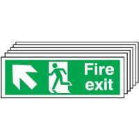 Fire Exit (Arrow Diagonal Up & Left) 6 Pack Signs