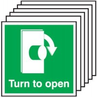 Turn To Open (Clockwise Symbol) Signs - 6 Pack