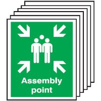 Assembly Point Signs - 6 Pack