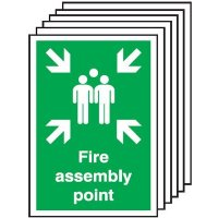 Fire Assembly Point Signs - 6 Pack