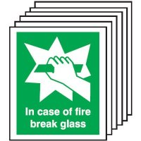 In Case Of Fire Break Glass Signs - 6 Pack