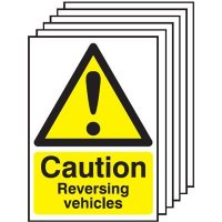 Caution Reversing Vehicles Signs - 6 Pack