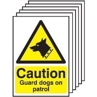 Caution Guard Dogs On Patrol Signs - 6 Pack