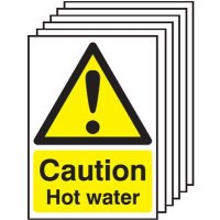 Caution Hot Water Signs - 6 Pack