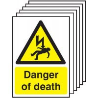 Danger Of Death Signs - 6 Pack