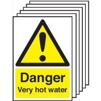 Danger Very Hot Water Signs - 6 Pack