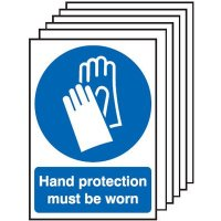 Hand Protection Must Be Worn Signs - 6 Pack