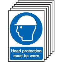 Head Protection Must Be Worn Signs - 6 Pack
