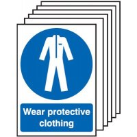 Wear Protective Clothing Signs - 6 Pack