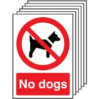 No dogs allowed signage - pack of six